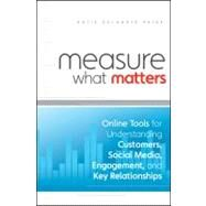 Measure What Matters : Online Tools for Understanding Customers, Social Media, Engagement, and Key Relationships by Delahaye Paine, Katie, 9780470920107