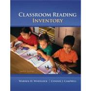 Classroom Reading Inventory by Wheelock, Warren; Campbell, Connie; Silvaroli, Nicholas, 9780078110252