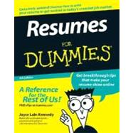 Resumes For Dummies<sup>&#174;</sup>, 5th Edition by Joyce Lain Kennedy, 9780470080375
