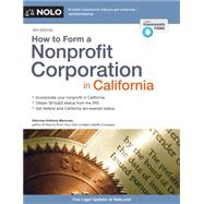 How to Form a Nonprofit Corporation in California by Mancuso, Anthony, 9781413321388