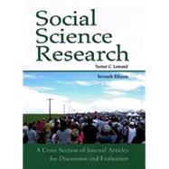 Social Science Research: A Cross Section of Journal Articles for Discussion and Evaluation by Unknown, 9781936523016