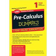 1,001 Pre-Calculus Practice Problems for Dummies Access Code by Consumer Dummies, 9781118853085