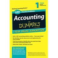 1,001 Accounting Practice Problems for Dummies 1-year Subscription Access Code Card by Consumer Dummies, 9781118853108