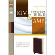 Holy Bible: King James Version & Amplified Camel / Rich Red Italian Duo-Tone Side-by-Side Bible by Zondervan Publishing House, 9780310443346