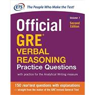 Official GRE Verbal Reasoning Practice Questions, Second Edition, Volume 1 by Educational Testing Service, 9781259863486