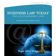 Business Law Today, Standard Text and Summarized Cases by Miller, Roger LeRoy, 9781133273561