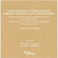 Corporations, Other Limited Liability Entities Partnerships, Statutory Documentary Supplement by Hazen, Thomas; Markham, Jerry, 9781634593861