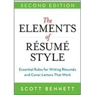 The Elements of Resume Style by Bennett, Scott, 9780814433935