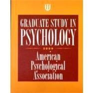 Graduate Study in Psychology, 2009 by American Psychological Association, 9781433803956