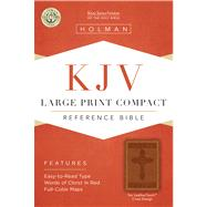 KJV Large Print Compact Reference Bible, Tan Cross Design LeatherTouch by Holman Bible Staff, 9781586404307