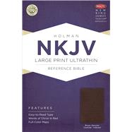 NKJV Large Print Ultrathin Reference Bible, Brown Genuine Cowhide Indexed by Holman Bible Staff, 9781433615047