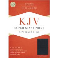 KJV Super Giant Print Reference Bible, Black Genuine Leather Indexed by Holman Bible Staff, 9781433645075