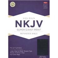 NKJV Super Giant Print Reference Bible, Black Genuine Leather Indexed by Holman Bible Staff, 9781433645136