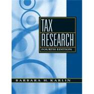 Tax Research by Karlin, Barbara H, 9780136015314