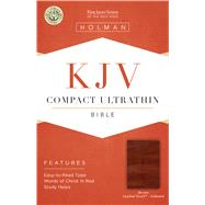 KJV Compact Ultrathin Reference Bible, Brown Cross LeatherTouch, Indexed by Holman Bible Staff, 9781433646201