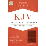 KJV Large Print Compact Reference Bible, Brown Cross LeatherTouch, Indexed by Holman Bible Staff, 9781433646249