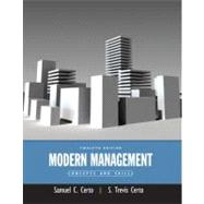 Modern Management : Concepts and Skills by Certo, Samuel C.; Certo, Trevis, 9780132176316