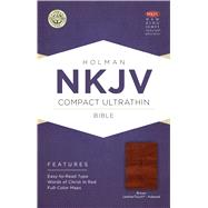 NKJV Compact Ultrathin Bible, Brown Cross LeatherTouch, Indexed by Holman Bible Staff, 9781433646454