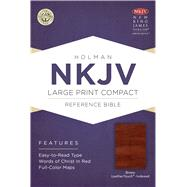NKJV Large Print Compact Reference Bible, Brown Cross LeatherTouch, Indexed by Holman Bible Staff, 9781433646485
