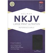 NKJV Large Print Ultrathin Reference Bible, Black Genuine Leather with Ribbon Marker by Holman Bible Staff, 9781433606823