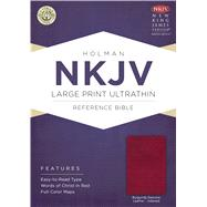 NKJV Large Print Ultrathin Reference Bible, Burgundy Genuine Leather with Thumb Index & Ribbon Marker by Holman Bible Staff, 9781433606847