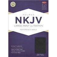 NKJV Large Print Ultrathin Reference Bible, Black Genuine Leather with Thumb Index & Ribbon Marker by Holman Bible Staff, 9781433606854