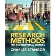 Research Methods for the Behavioral Sciences by Stangor, 9781285077024
