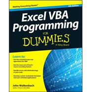 Excel Vba Programming for Dummies by Walkenbach, John, 9781119077398