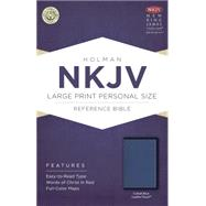 NKJV Large Print Personal Size Reference Bible, Cobalt Blue LeatherTouch by Holman Bible Staff, 9781433617546