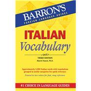 Italian Vocabulary (ITALIAN) (Barron's Vocabulary Series) Publisher: Barrons Educational Series Inc Publish Date: 9/1/2012 Language: ITALIAN Pages: 336 Weight: 1.09 ISBN-13: 9780764147692 Dewey: 458.2/421