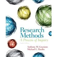 Research Methods A Process of Inquiry by Graziano, Anthony M.; Raulin, Michael L., 9780205907694