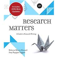 Research Matters MLA 2016 Update by Howard, Rebecca Moore; Rupiper Taggart, Amy, 9781260088298