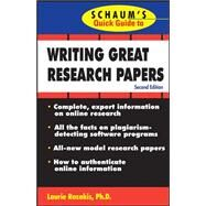Schaum's Quick Guide to Writing Great Research Papers by Rozakis, Laurie, 9780071488488