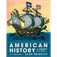 American History: A Survey, Volume 1 by Brinkley, Alan, 9780077238551