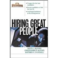 Hiring Great People by Klinvex, Kevin; O'Connell, Matthew; Klinvex, Christopher, 9780070718722