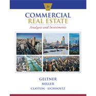 Commercial Real Estate Analysis and Investments, 3rd Edition by Geltner/Miller/Clayton/Eichholtz, 9781133108825