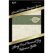 KJV Large Print Personal Size Reference Bible, Designer Series, Linen Leaves, LeatherTouch by Holman Bible Staff, 9781433619434
