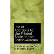 List of Additions to the Printed Books in the British Museum by British Museum Dept. of Printed Books, 9780554519630